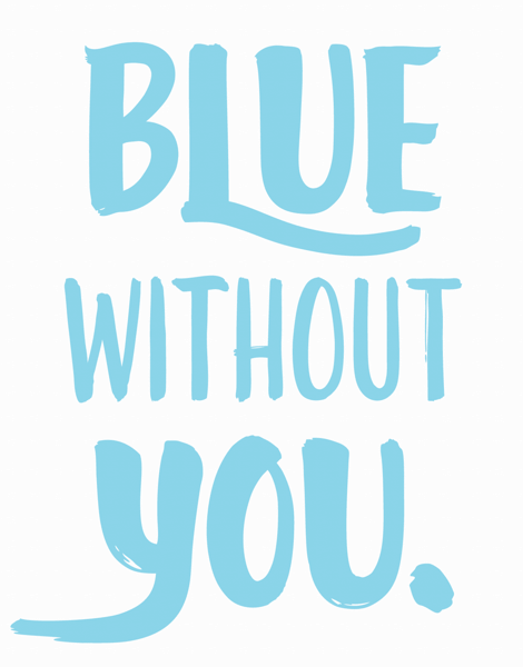 Blue Hand Lettered Miss You Card