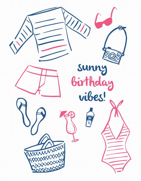 Hand Drawn Beach Birthday Card