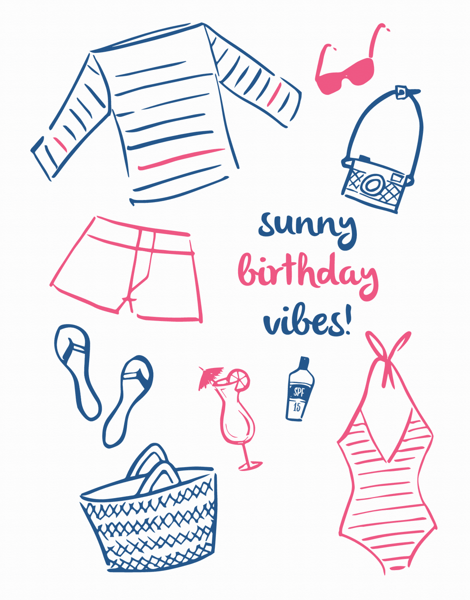 Hand Drawn Beach Birthday Card