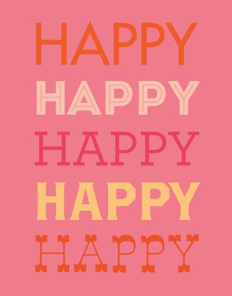 Modern Pink Happy Birthday Card