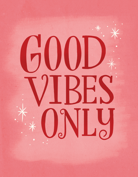 Retro Good Vibes Only Good Luck Card