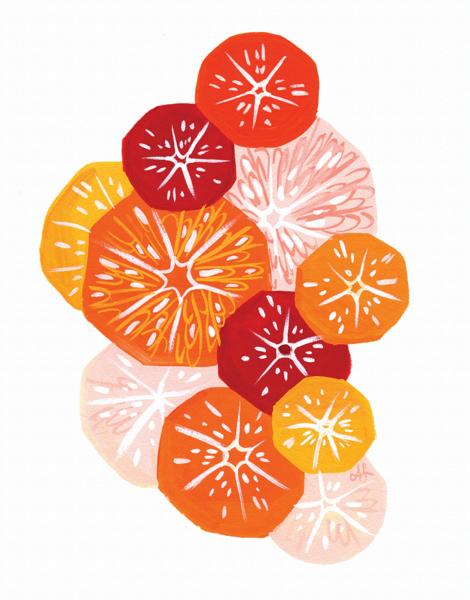 Hand Painted Citrus Art Card
