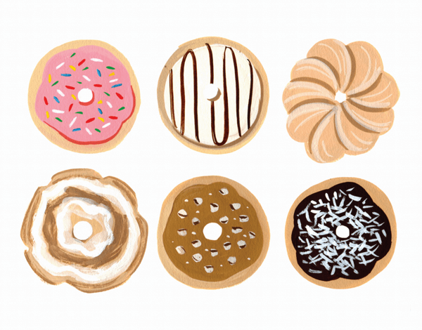 Painted Donuts Art Card