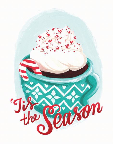tis the season cocoa holiday greeting card