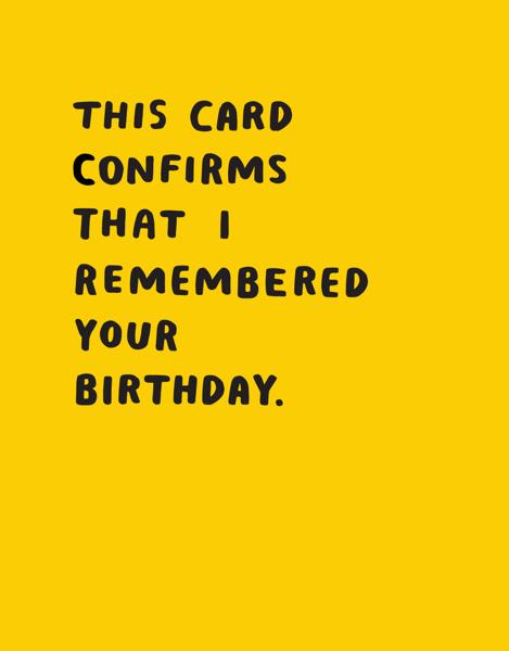 Birthday Confirmation
