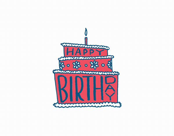 Hand Lettering Happy Birthday Cake Card
