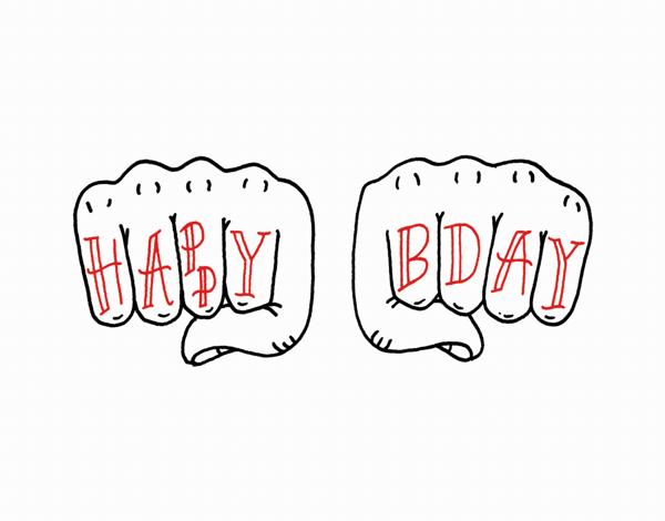 Illustrated Knuckles Birthday Card