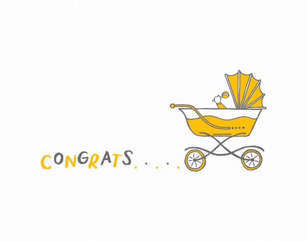 Yellow Carriage Baby Congrats Card