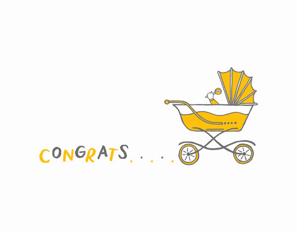 Yellow Carriage Baby Congrats Card