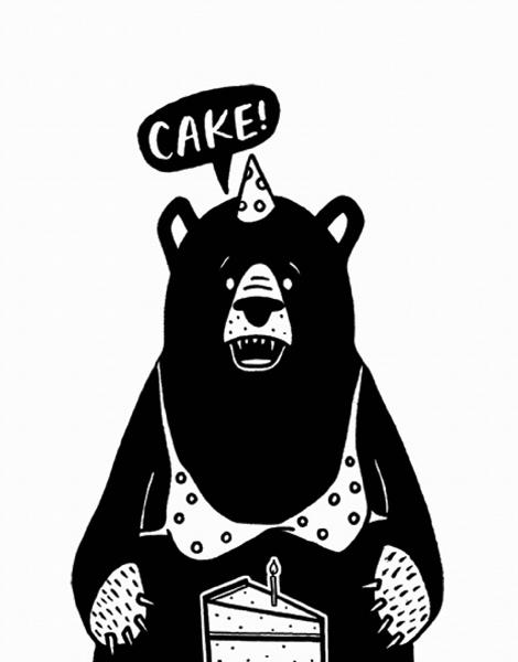 Funny Bear And Cake Birthday Card