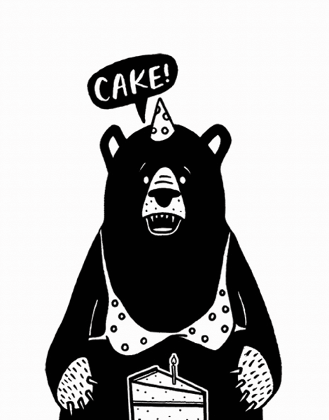 Funny Bear And Cake Birthday Card