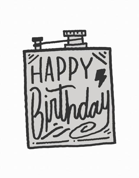 Gray Flask Birthday Card