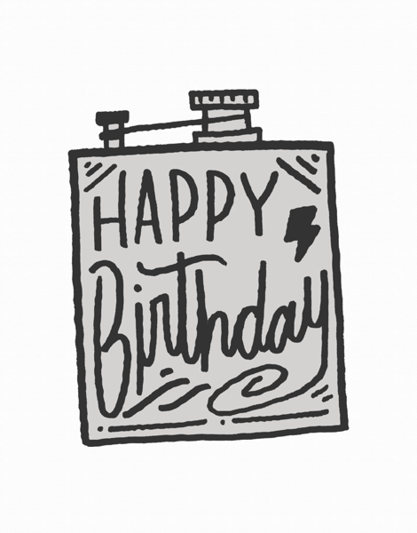 Gray Flask Birthday Card
