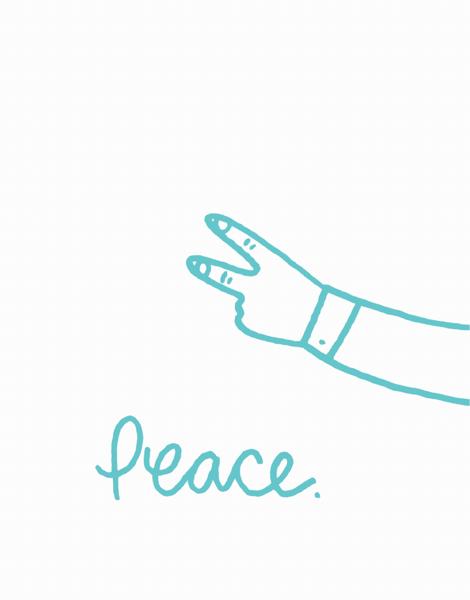 Hand Drawn Peace Friend Card