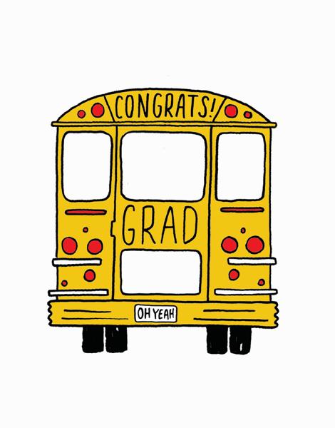 Charming School Bus Graduation Congrats Card