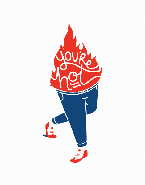 Illustrated You're Hot Love Card