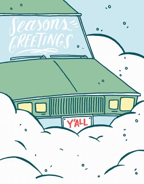car in snow funny seasons greeting card