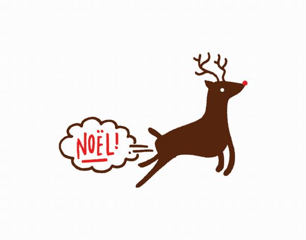 funny noel greeting with reindeer