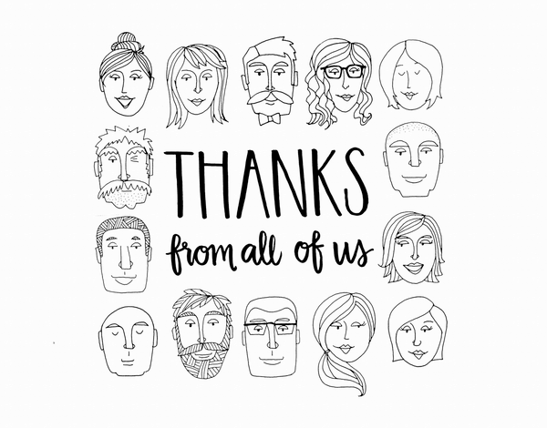 Black and White Doodle Thank You Card