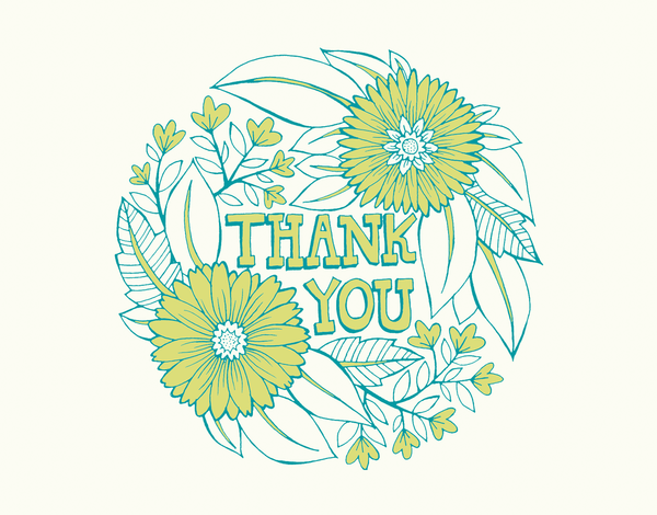 Green Outlined Bouquet Thank You Card