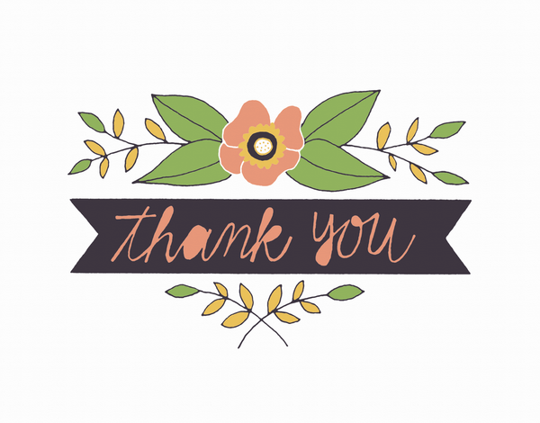 Clean Floral Thank You Card
