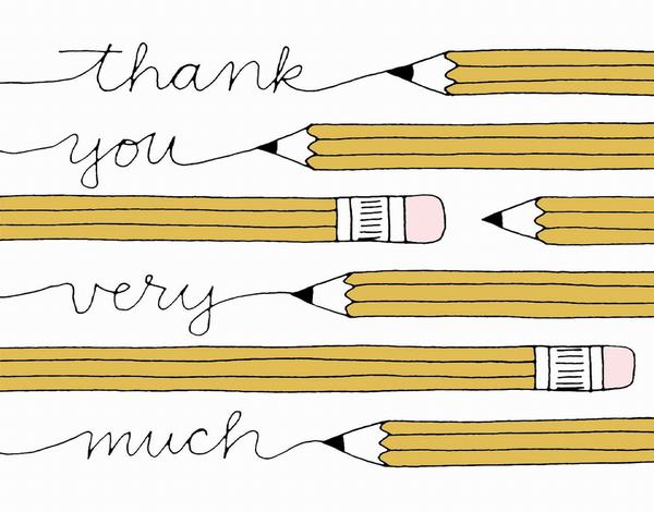 Pencils Written Thank You Card