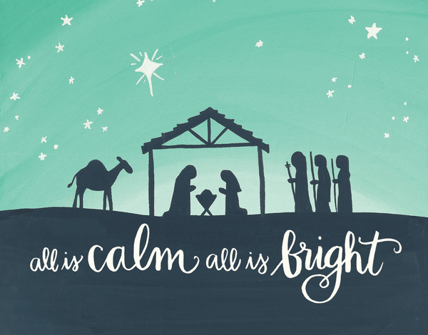 All Is Calm Manger Holiday Card