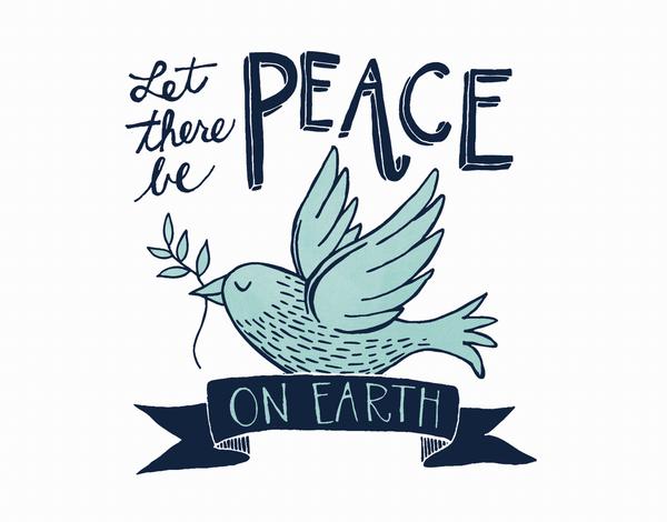 Blue Bird Peace On Earth Card