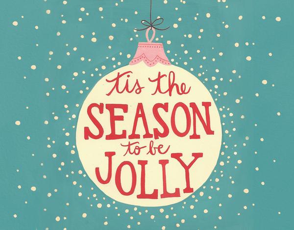 cheerful christmas ornament tis the season Card