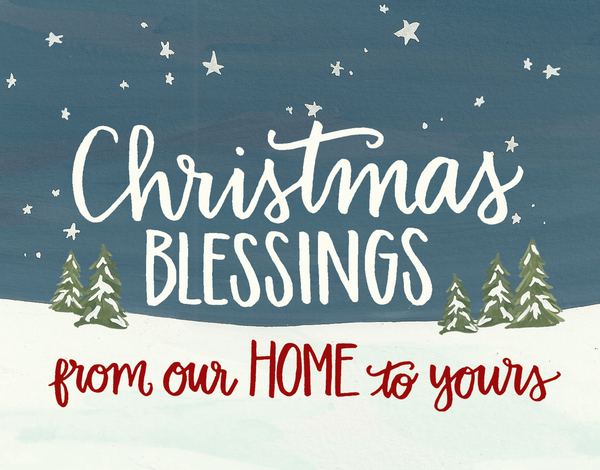 Religious hand lettered Christmas Card
