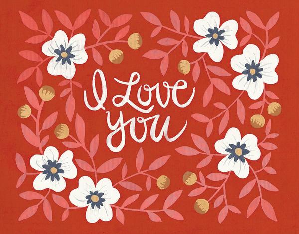 Red Rosebush Love You Card