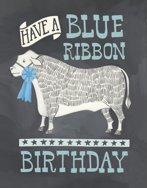 Blue Ribbon County Fair Birthday Card