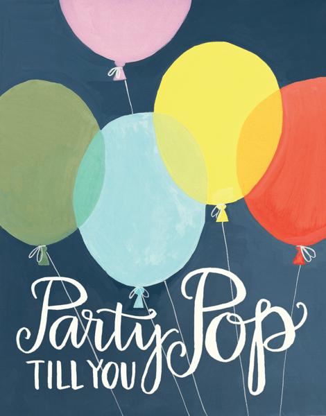 Painted Balloon Birthday Card