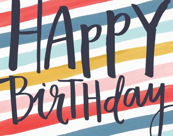 Festive Painted Striped Birthday Card