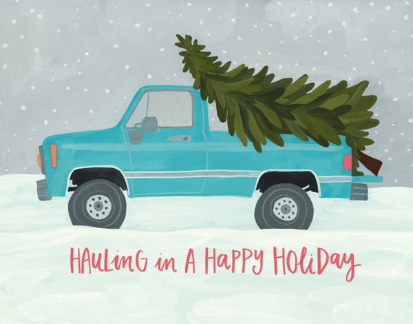 Painted Truck Holiday greeting Card