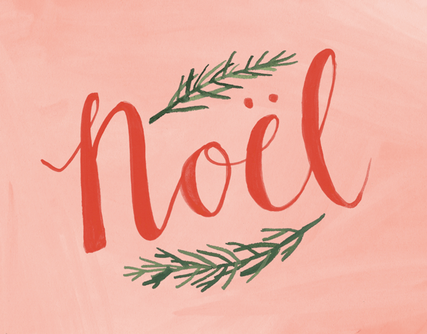beautiful red noel and pine branches christmas card