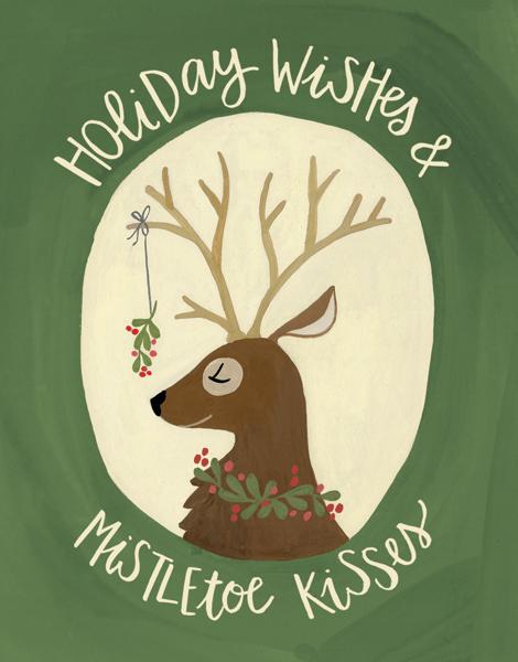 hand painted mistletoe holiday Card