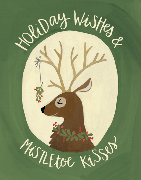 hand painted mistletoe holiday Card