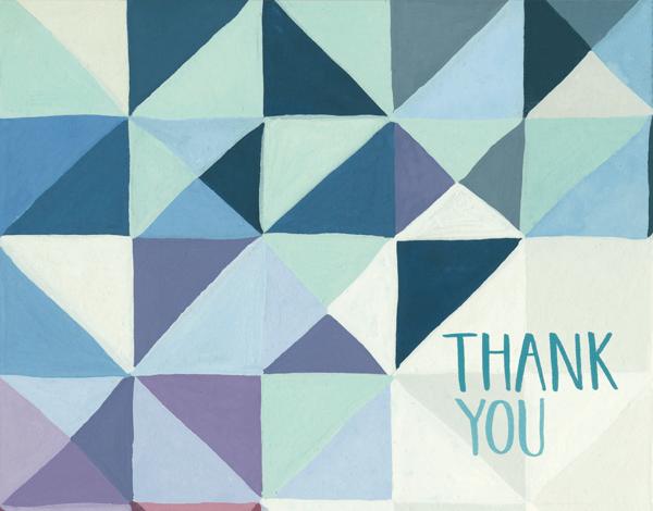 Geometric Blue Thank You Card