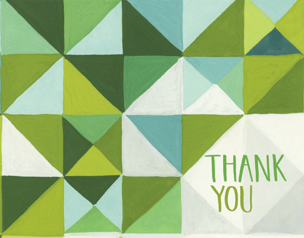 Painted Green Triangle Thank You Card