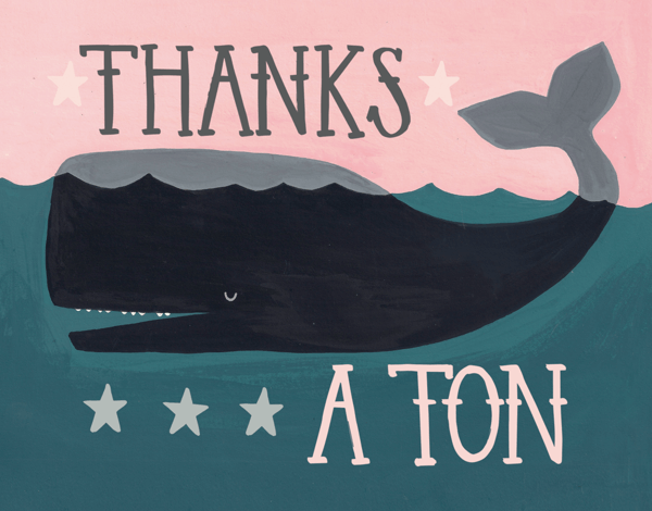 Whimsical Whale Thank You Card