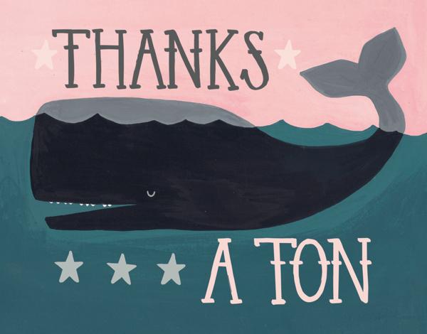Whimsical Whale Thank You Card