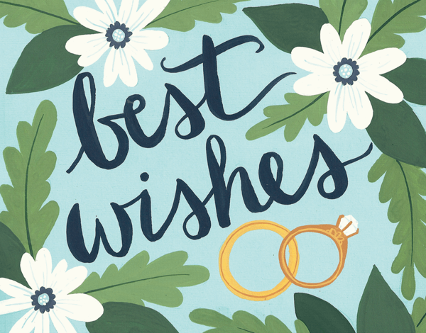 Best Wishes Intwined Rings Congrats Card