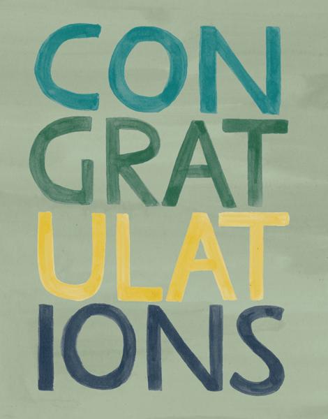 Stacked Green Congrats Card