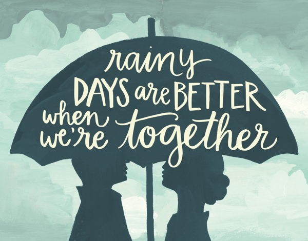 Silhouette Rainy Days Love Card