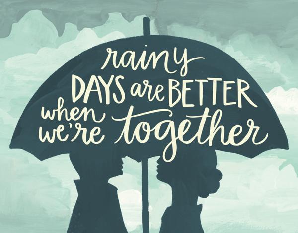 Silhouette Rainy Days Love Card
