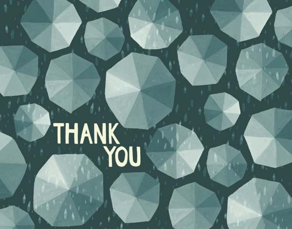 Umbrellas Thank You Card