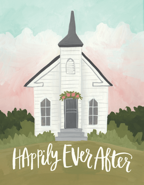 Happily Ever After Chapel Wedding Card