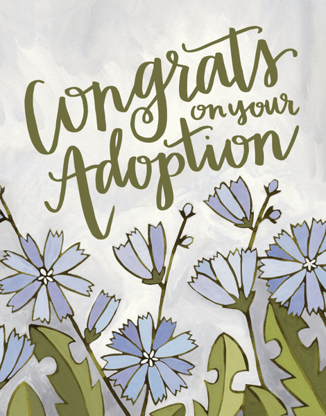 Lovely Hand Painted Adoption Congrats Card