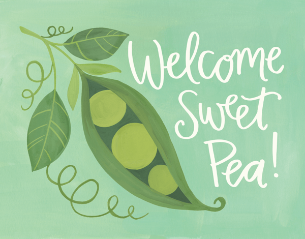 Hand Painted Welcome charming Pea Baby Card